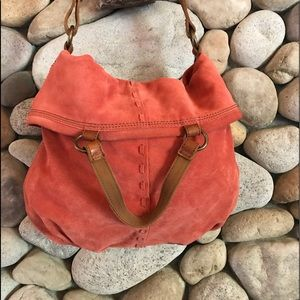Lucky Brand Faded Apricot Suede Bucket Bag